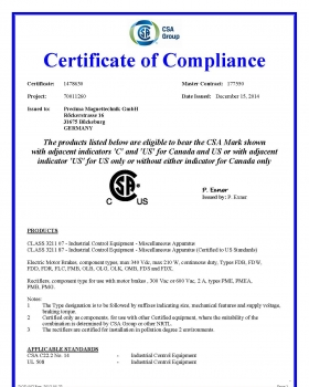 CSA International - Certificate of Compliance