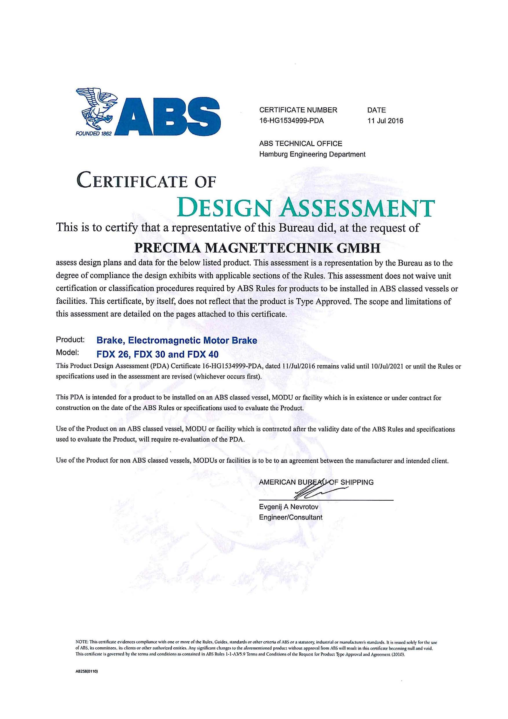 ABS Certificate of Design Assessment