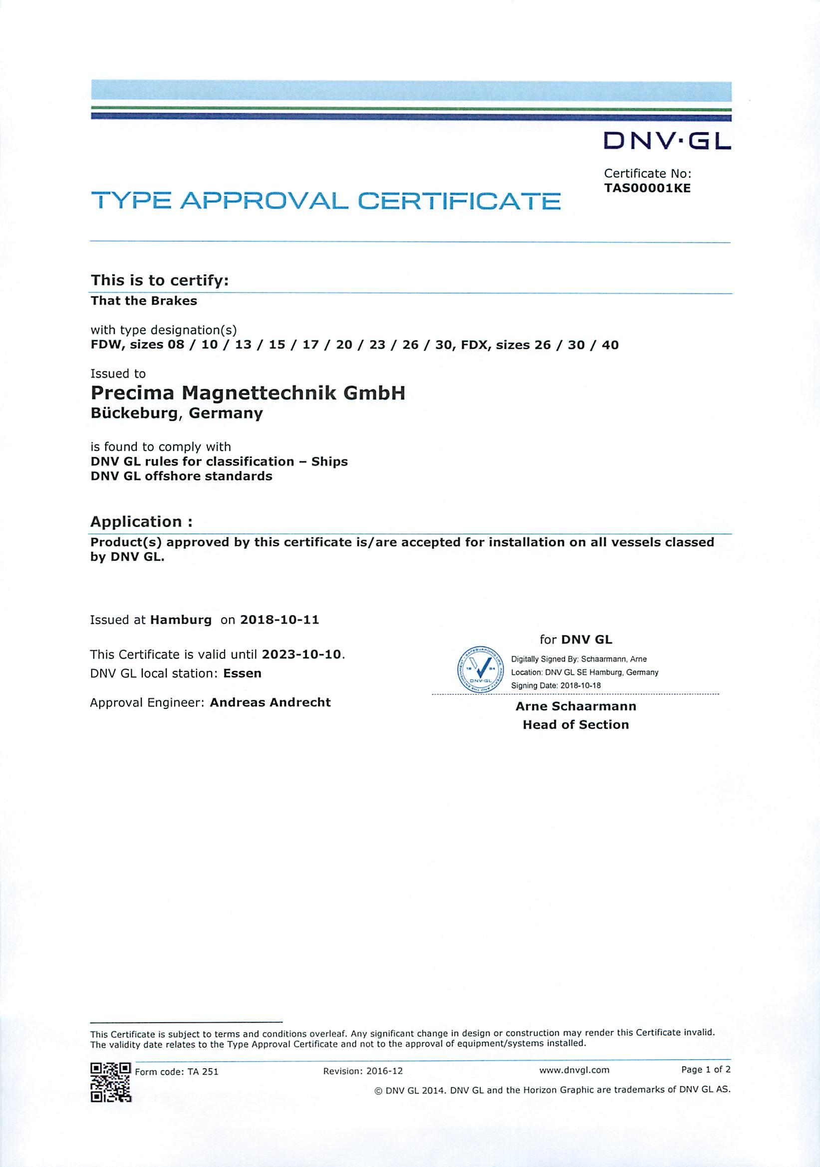 DNV + GL Zertifikat